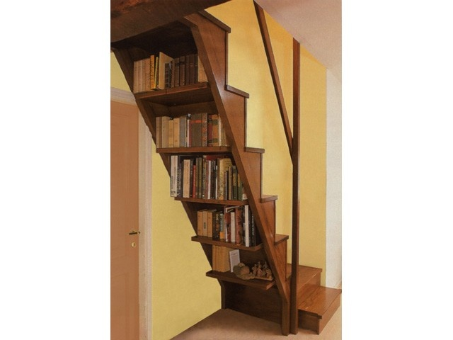 scala con libreria  wooden stairs - scale in legno  Pinterest