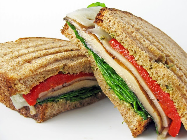 Grilled Portobello And Roasted Red Pepper Sandwich With Pistachio ...