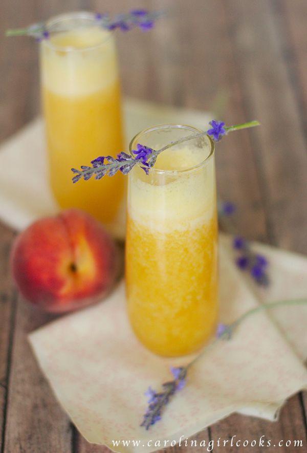 Lavender Peach Bellinis Pinned Via: Carolina Girl Cooks http://www ...