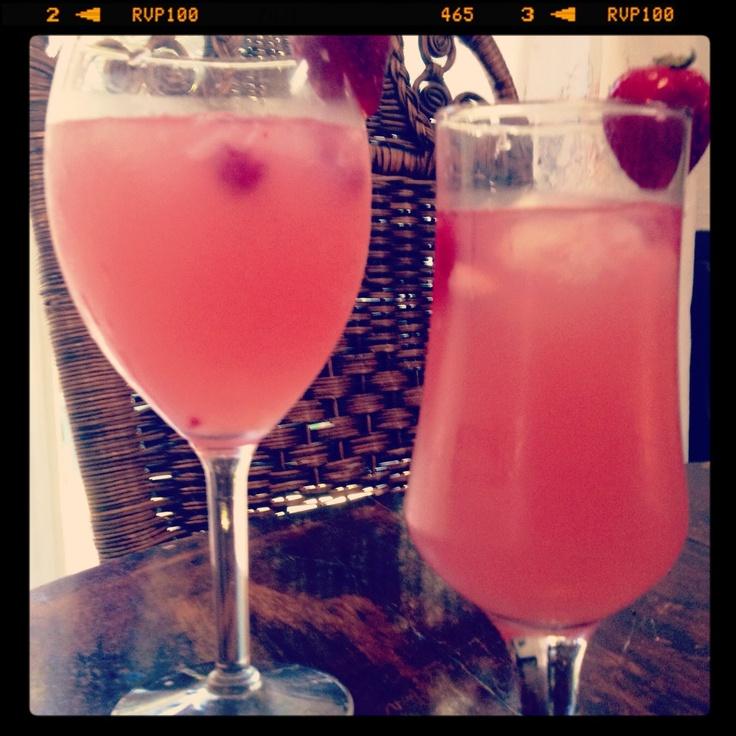 Raspberry twist! Raspberry lemonade with coconut rum with crushed ice ...