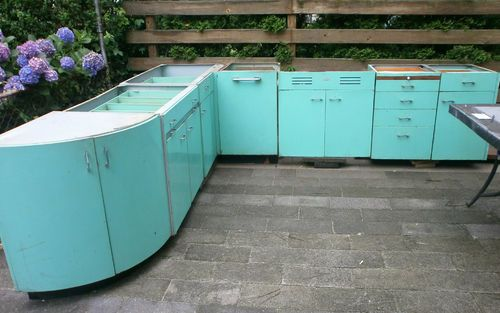 Rare Vintage Metal Kitchen Cabinets Turquoise Complete Set Plus St C