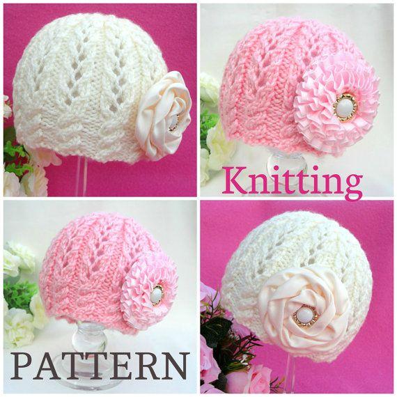 Knitting Patterns For Toddler Girl Hats : Knitting PATTERN Baby Beanie Knit Pattern Baby Hat Baby Girl Cap Knitted Girl...