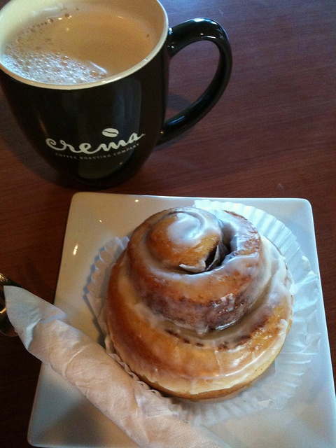 My favorite coffee shop treat, chai tea latte and a cinnamon roll