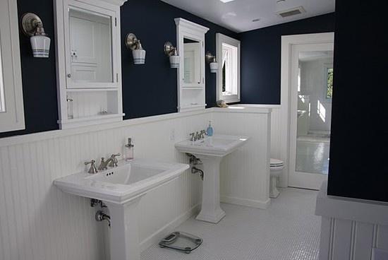 Navy Bathroom White Wainscoting Home Decor Pinterest