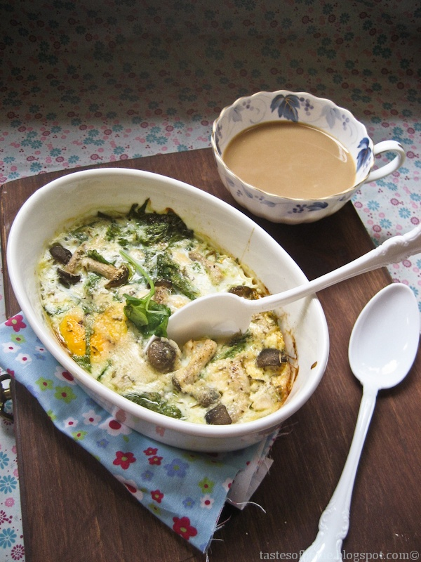 Baked Egg With Bacon, Spinach And Mushrooms Recipes — Dishmaps