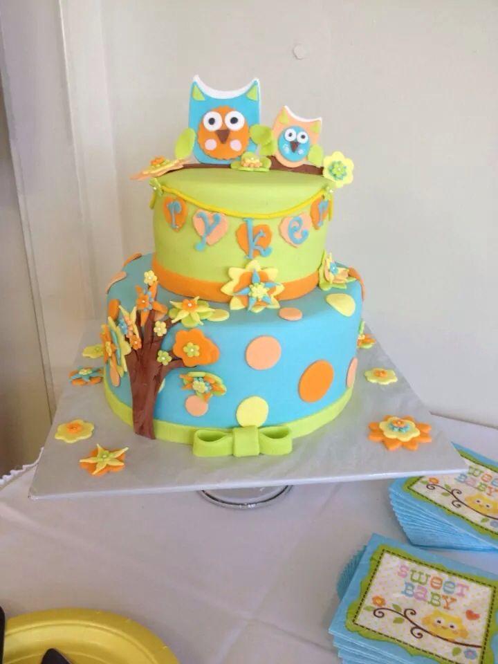Cake Momma Sarah Harmon in Jackson, Mi. Owl baby shower cake. Adorable ...