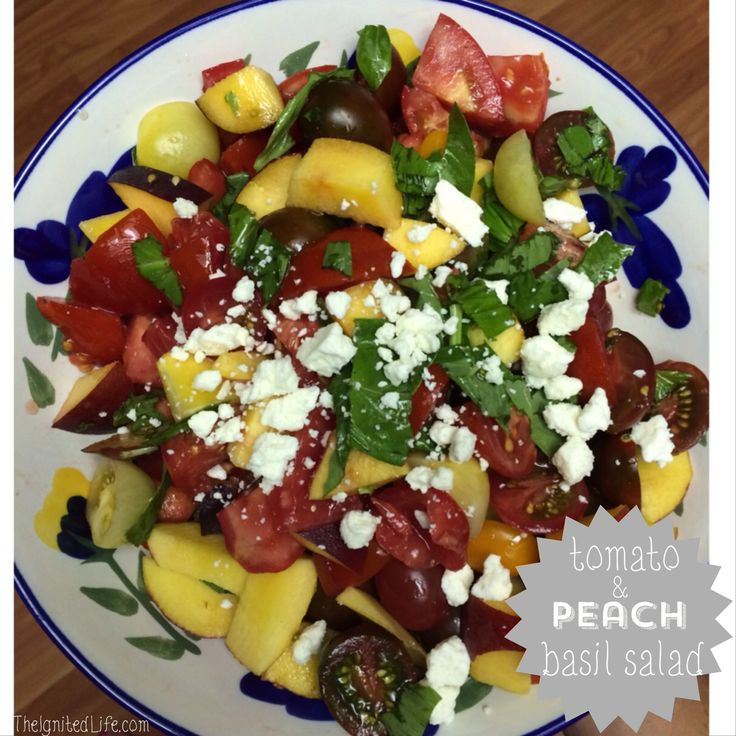 ... all your tomatoes? Tomato, peach, basil and feta salad=deliciousness