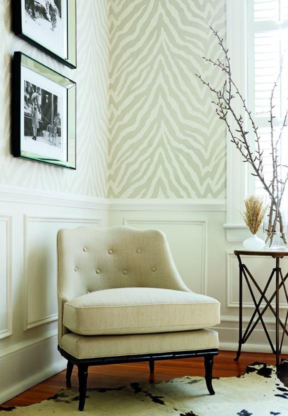chair rail and zebra wallpaper