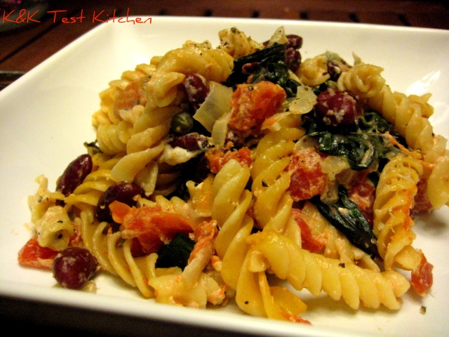 Goat cheese and swiss chard casserole! Olives, goat cheese, noodles ...