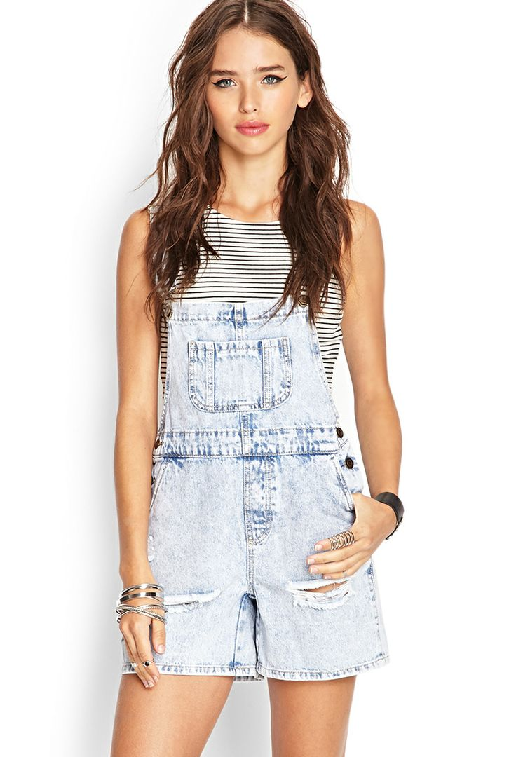 Distressed Overall Shorts | FOREVER21 #SummerForever #Denim
