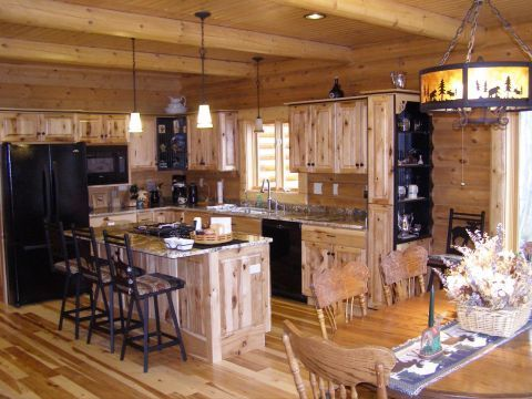 Rustic knotty hickory cabinets are our most popular choices log beams on the ceiling are also - Knotty hickory kitchen cabinets ...