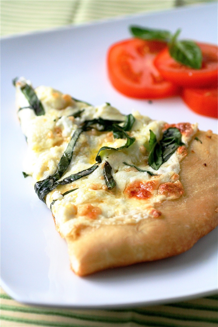 four cheese white pizza with fresh basil | Pizza | Pinterest