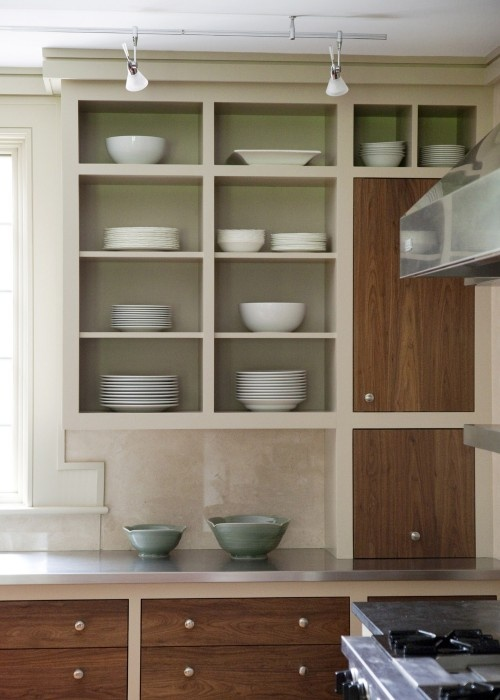 Builtin wall cabinet without doors a place to live for Kitchen cabinets no doors
