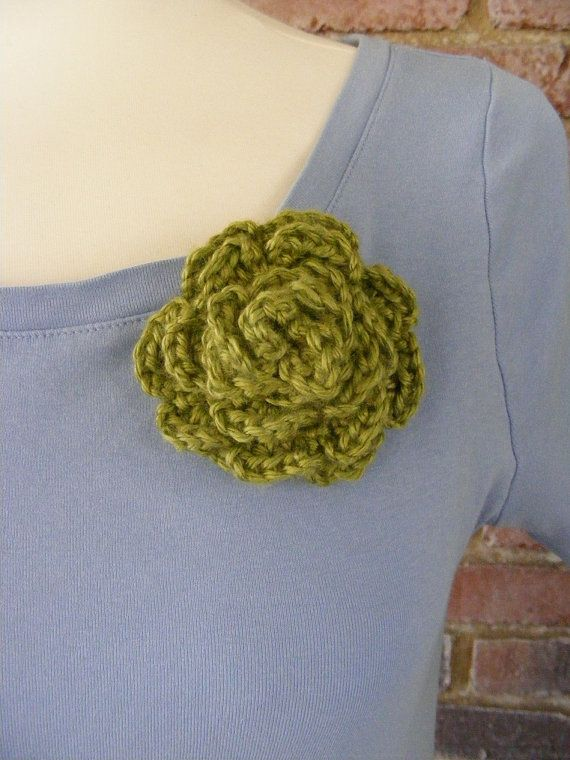 Olive Green Crochet Pin Hair Barrette Handmade by meiguidesigns, $10 ...