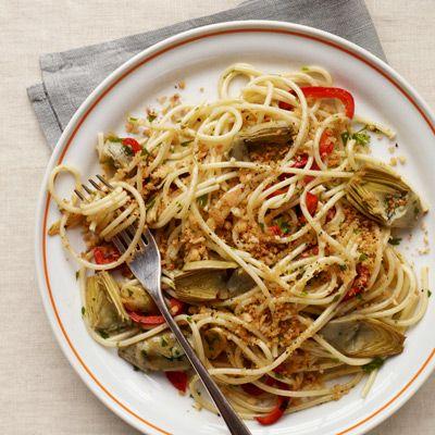 Spaghetti with Artichoke Hearts and Toasted Breadcrumbs | Recipe