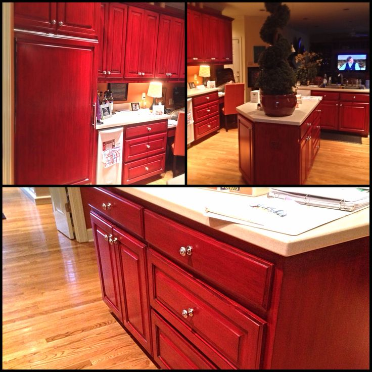Black glaze over red kitchen cabinets Angelfish Studios