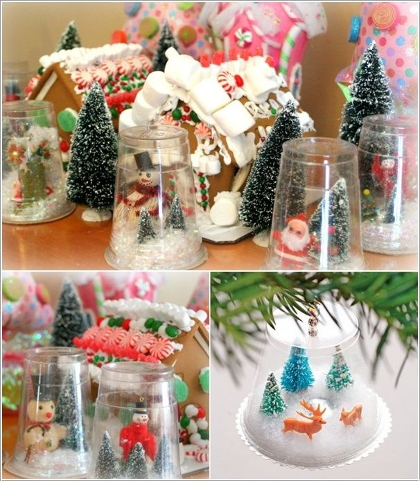 3 plastic cup snow globes classroom ideas pinterest - Crafts made from plastic cups ...
