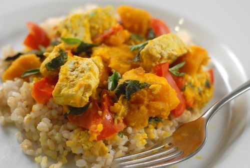 Thai pumpkin curry: kabocha squash, tofu, red bell peppers, and red ...