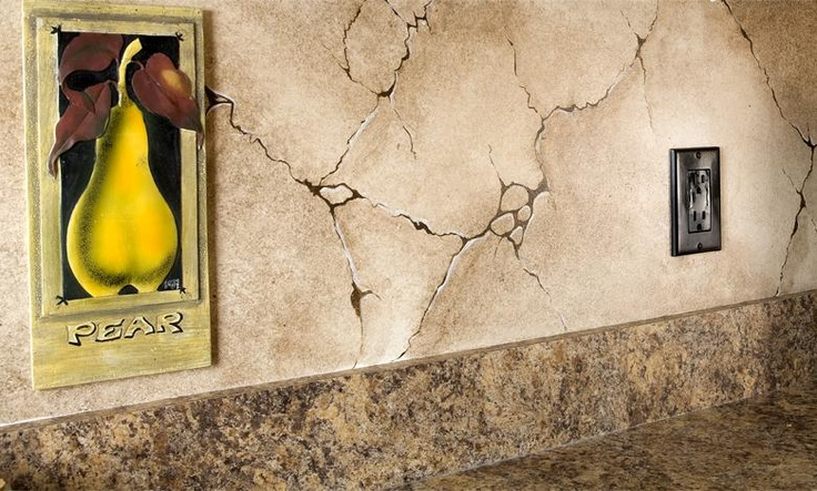 faux painted cracked stone backsplash if walls could
