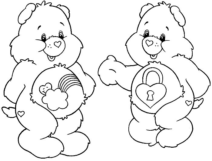 Cute bear with heart coloring pages