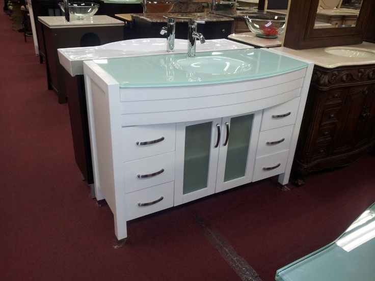 48 modern bathroom vanity white cabinet with frosted
