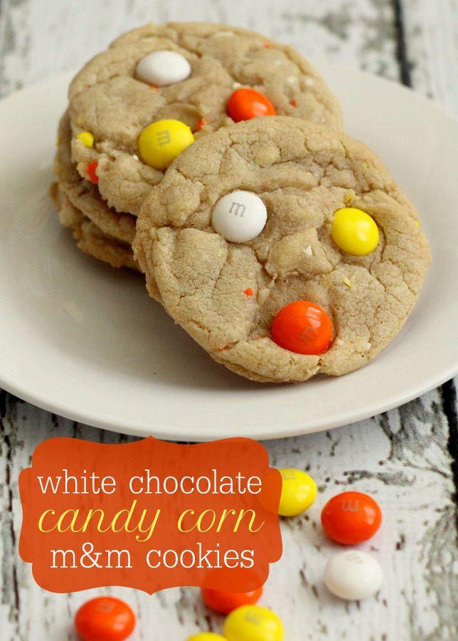 white chocolate candy corn m amp m cookies recipe on lilluna com ...