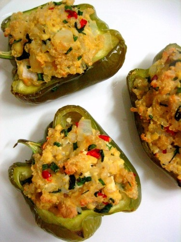 Vegetarian Rice stuffed bell peppers | treats | Pinterest