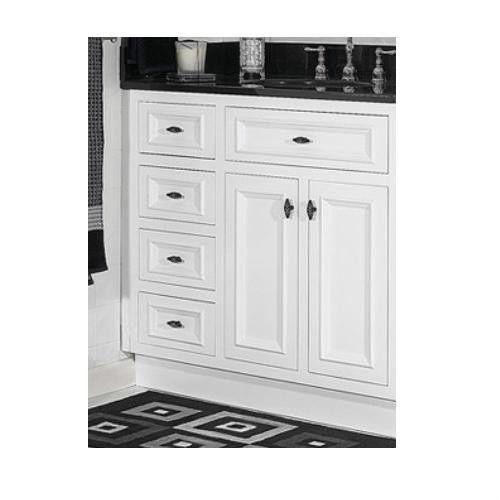 JSI Danbury White Bathroom Vanity Base 36 Solid Wood Frame 2 Doors 3