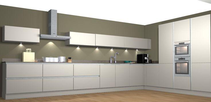 Mooie Keuken Achterwand : Mooie mat grijze keuken met donkere achterwand waardoor de keuken er