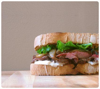 Roast Beef Sandwich with Roasted Onions and Horseradish Aioli