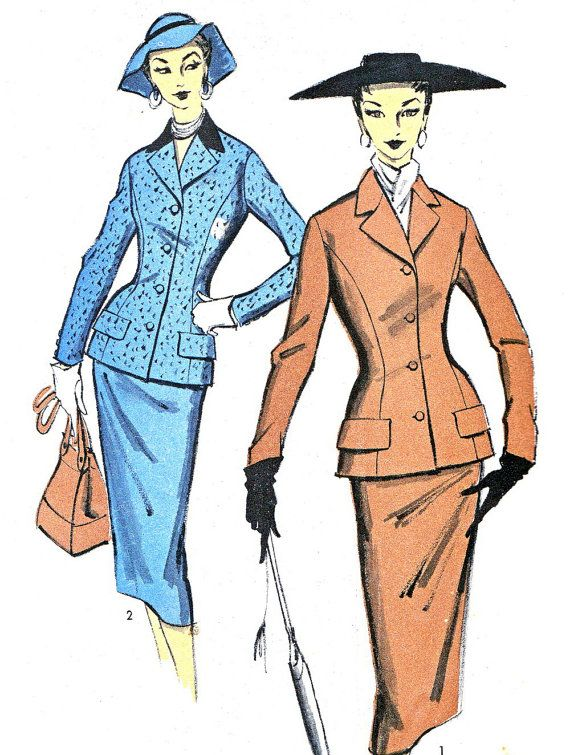 1950s Womens Suit Pattern Advance 6978 Two Piece by paneenjerez, $40.00