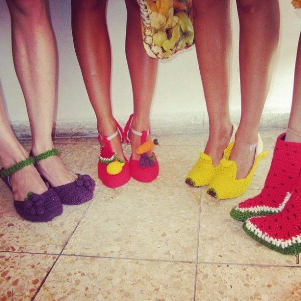 #Crochet fruit shoes (wearable) by Fruit Punch spotted on @knithacker