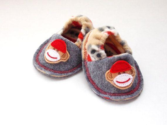 Infant Crib Shoes Baby Booties Sock Monkeys Soft by MoJosCozyToes, $29