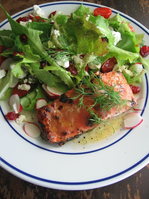 Rhubarb & Chipotle Grilled Salmon With Just Picked Greens