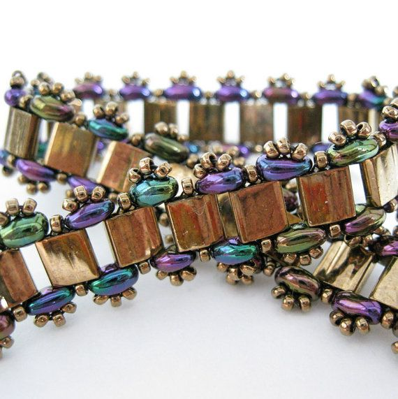 Bronze metallic bracelet seed bead tila twin by SterlingSky, $30.00