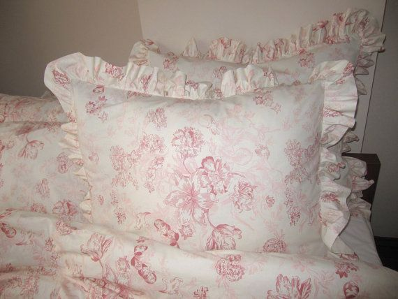 Shabby Chic Ruffled Pillow Shams : Pink floral ruffle euro shams pillow sham 26 inch bedding set shabby chic beach cottage style ...