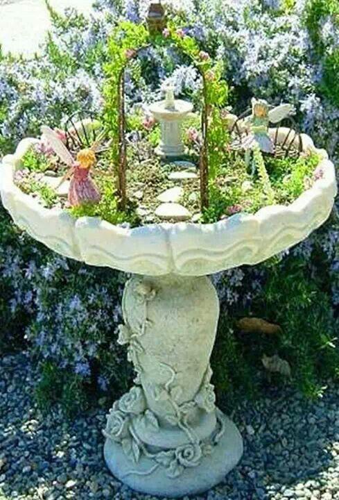 Fairy garden in an old bird bath   DIY, Crafts, being prepared and th ...