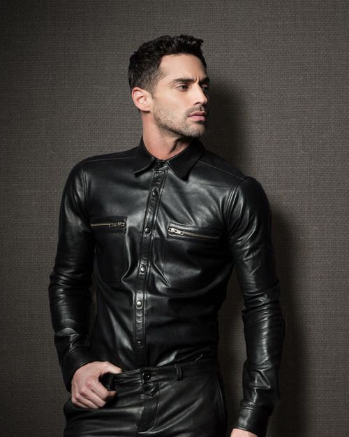 Men who shine for Leather jacket and shirt