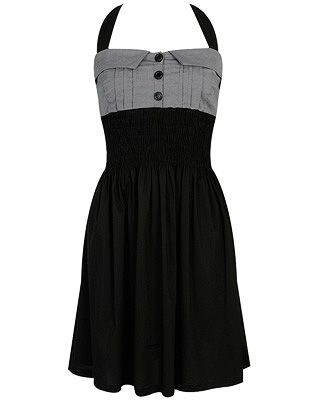 black and gray mini dress