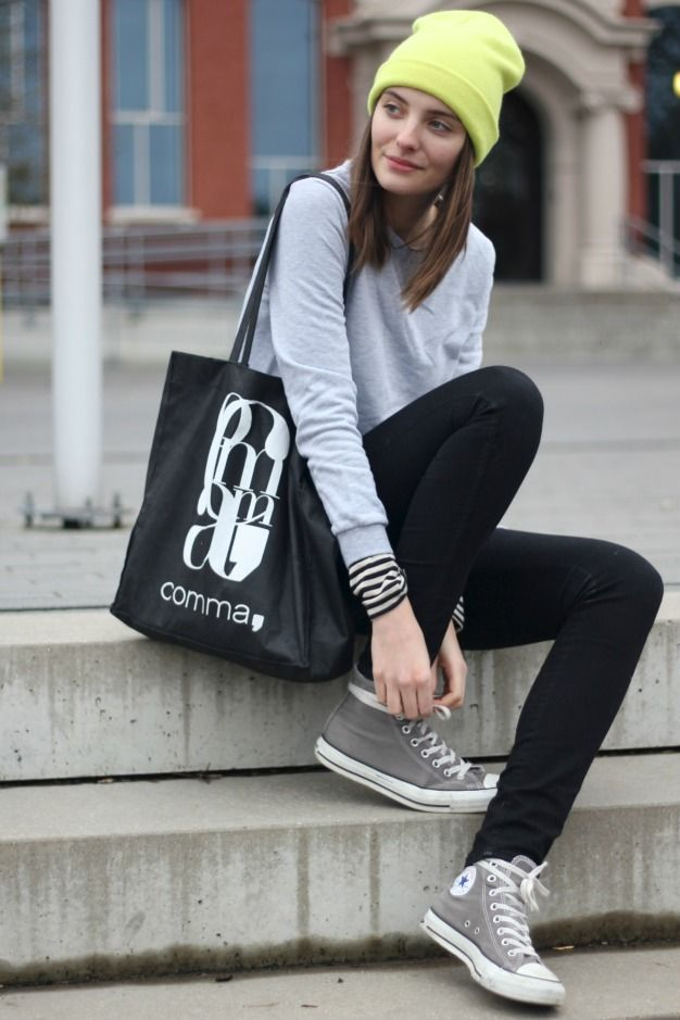 Grey Converse with Outfit