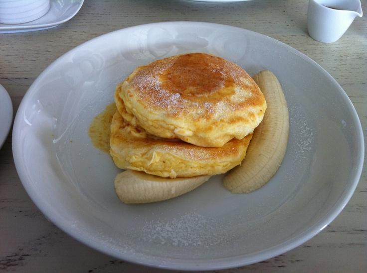 Ricotta hotcakes, fresh banana and honeycomb butter at bills ...