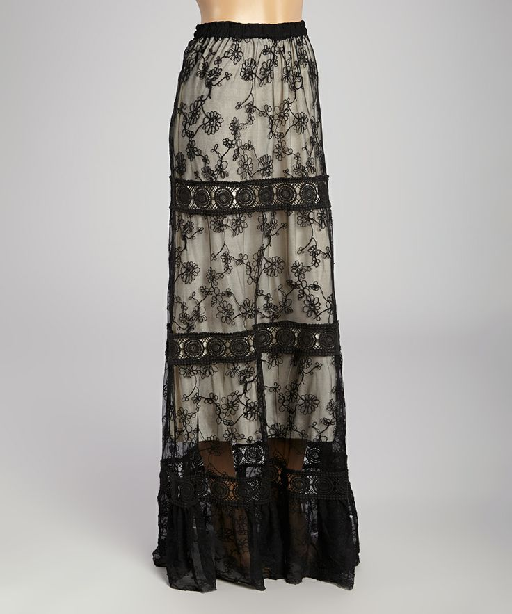 black beige lace maxi skirt my style