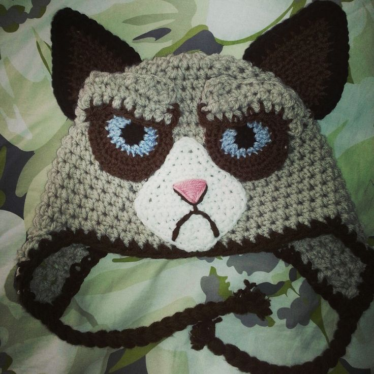 Crochet Pattern Hat Cat : Gallery For > Crochet Grumpy Cat Hat