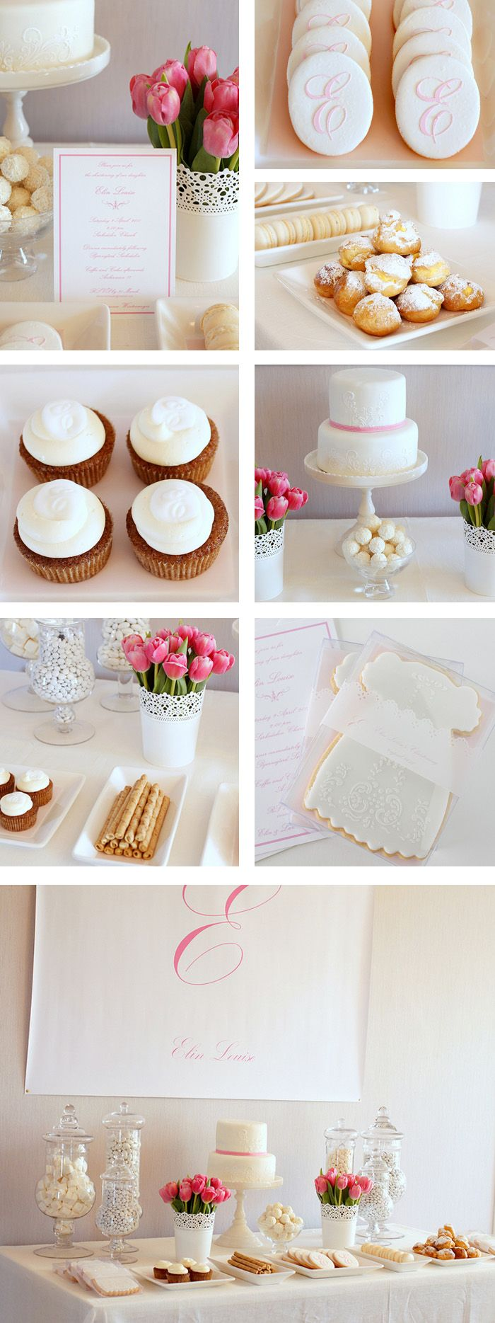 white Christening gown cookies are so pretty! The monogram cookies are classy.
