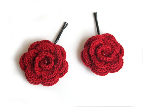 crochet flower hair pins Activities Of Yarn Pinterest