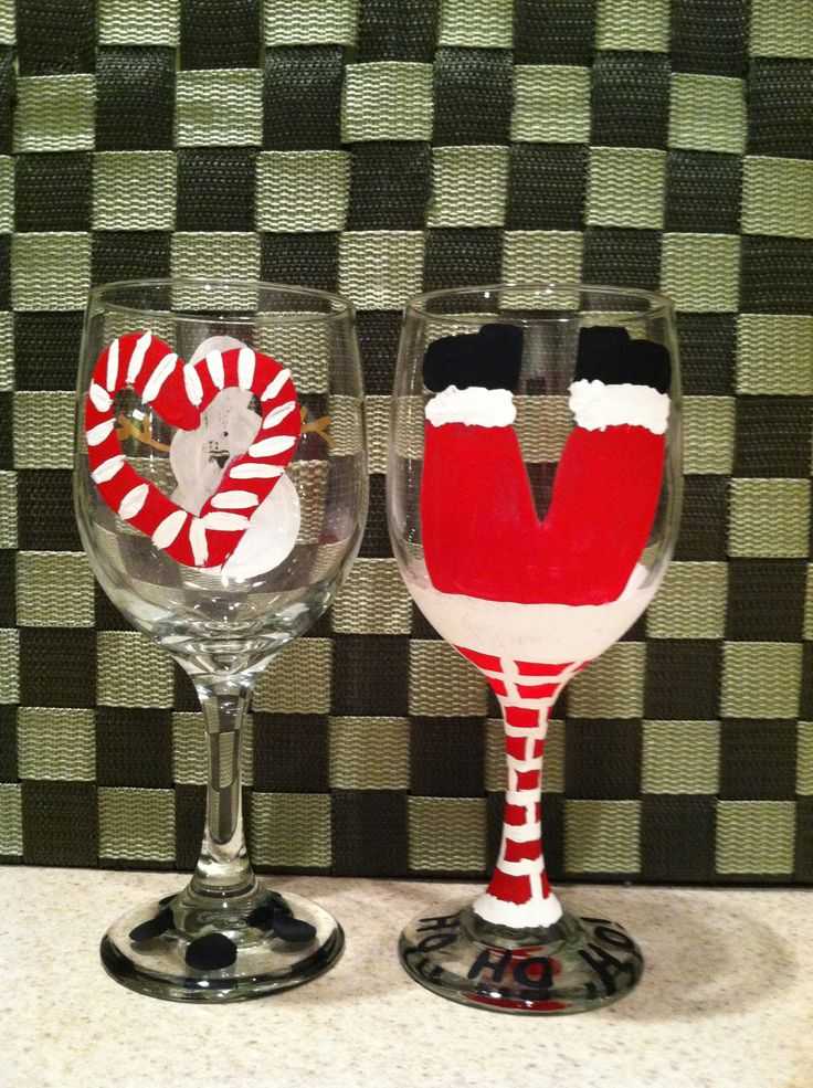 painted christmas wine glasses wine glass painting