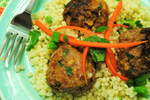 Asian Turkey Meatballs With Carrot Rice Recipe — Dishmaps