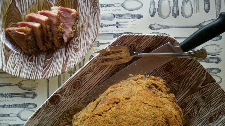 Brown Sugar-Dijon, Garlic-Bread Crumb Crusted Ham with Madeira Sauce