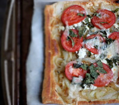 This tomato and goat cheese tart is awesome. Awe-some. And then some.