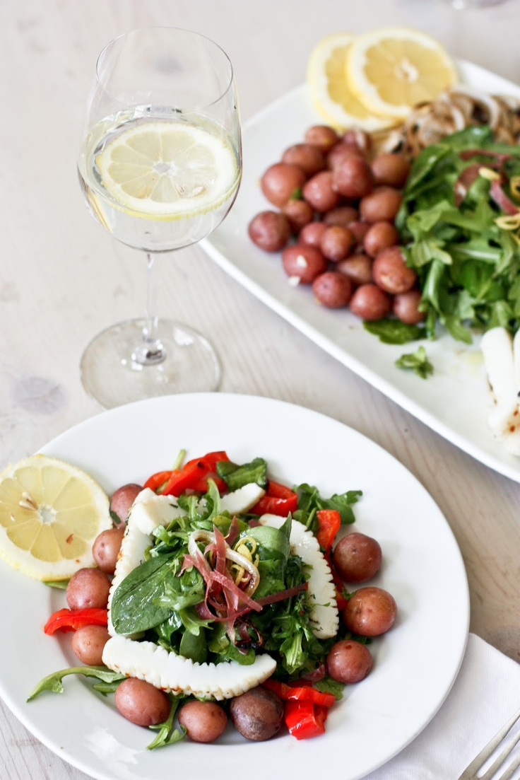 Grilled Calamari Salad with Arugula and Preserved Lemon Vinaigrette